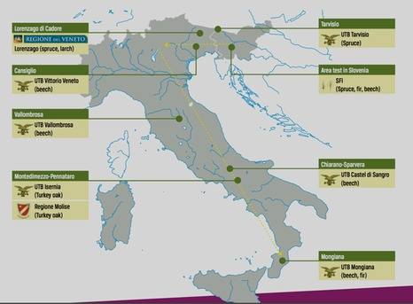 Project sites in Italy and Slovenia